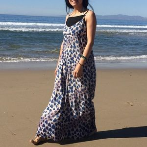 Afuadani blue peacock print maxi dress